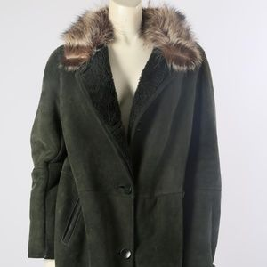 BLUE DUCK Green Fur Collar Shearling Suede Jacket